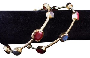 The Queens Closet Two 18K Gold Bangle Bracelets NEW Red Carnelian Labradorite Stones