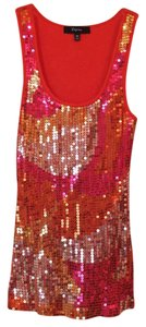 Express Top Orange background. Gold Pink and Orange sequins.