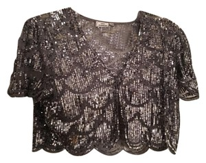 Lulu Guinness Evening Vest Sequins Top silver