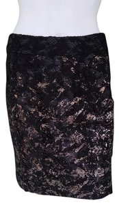 Biba Lace Pencil Skirt Black Gold