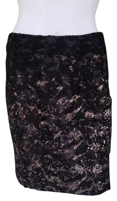 Item - Black Gold Lace Pencil Uk 8 Or Us Skirt Size 4 (S, 27)