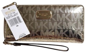 Michael Kors LAST 1 !!!! NWT Metallic Mirror Zip Travel Continental Wallet Wristlet