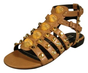 Balenciaga New T-strap Ankle Strap Brown Sandals