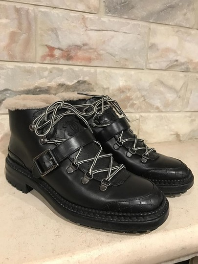 Chanel Black 15k Leather Quilted Fur Cc Lace Up Hiker