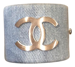Chanel bracelet cuff denim canvas blue silver hardware classic cuff