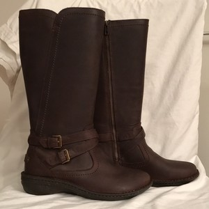 UGG Australia Leather Knee High Flat Brown Boots