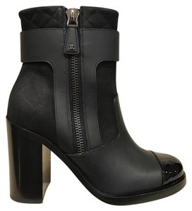 Chanel Leather Zipper Ankle Pump black Boots