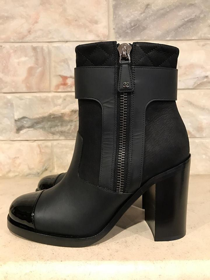 Chanel Black 16a Leather Quilted Cc Cap Toe High Heel Ankle Boots ... : quilted booties - Adamdwight.com