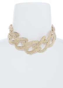 hausofgiovanni Etched At Cut-Out Choker Gold Tone Necklace