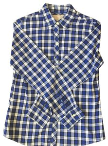 Banana Republic Womens Blue Button Down Shirt Multi-Color