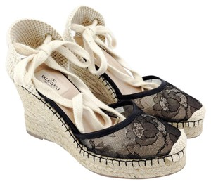 Valentino Lace Mesh Espadrille Platform Black and Cream Wedges