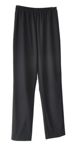 Eskandar Wool Elastic Waist Pockets Straight Pants Black