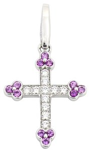 Cartier Cartier Cross Charm Pendant, Pink Sapphires, Diamonds 18k White Gold