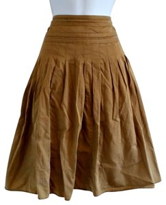 American Living Knee Pleated Full Khaki Midi Skirt Tan