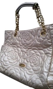 Big Buddha Fabric Handbag Quilted Fabric Weekender Travel Satchel in Beige