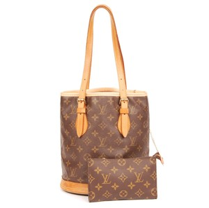 Louis Vuitton Bucket Monogram Canvas Leather Tote in Brown