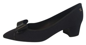 Chanel Bow Espadrille Navy Blue Black Pumps