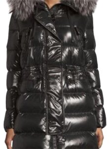 MONCLER shiny quilted down coat with fur hood Coat
