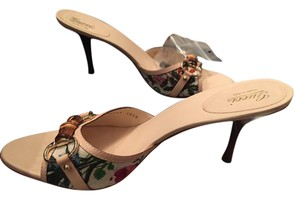Gucci Tan and floral Sandals