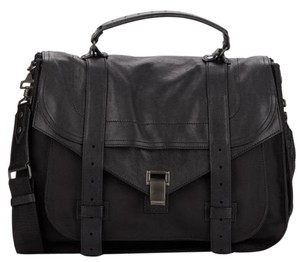 Proenza Schouler Ps1 Proenza Leather Canvas Satchel in Black