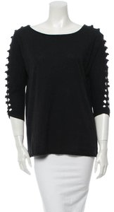 Maje Avant Garde French Cut-out 3/4 Length Sleeve Spring T Shirt Black