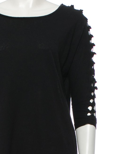 Maje Avant Garde French Cut-out 3/4 Length Sleeve Spring T Shirt Black Image 1