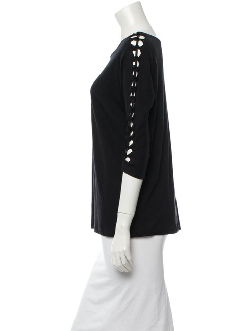 Maje Avant Garde French Cut-out 3/4 Length Sleeve Spring T Shirt Black Image 2