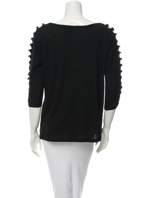 Maje Avant Garde French Cut-out 3/4 Length Sleeve Spring T Shirt Black Image 3