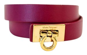 Salvatore Ferragamo Gancino Double Wrap Leather Bracelet