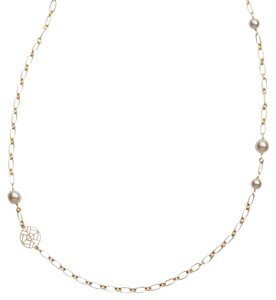 Tory Burch Tory Burch Crystal Chain Rosary Pearl Necklace