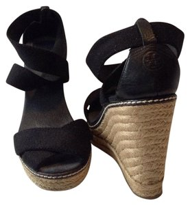 Tory Burch Espadrille Canvas Designer Black Wedges
