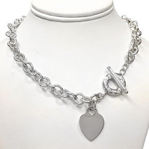 Tiffany & Co. RARE SIZE!!! Tiffany & Co. Heart and Toggle Necklace Sterling Silver 17