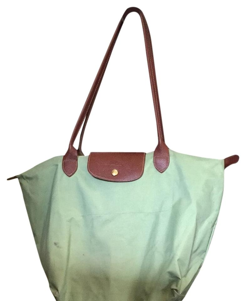 5f1c7edb89 Longchamp Le Pliage Tote Mint Green Nylon Shoulder Bag - Tradesy