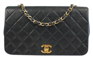 Chanel Classic Flap Lambskin Cc Logo Navy Shoulder Bag