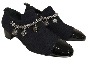Chanel Chain Charm Tweed Loafer Bootie blue Flats