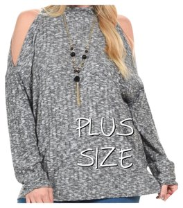 Other Plus Size Cutout Cold Curvy Tunic Sweater