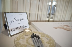 Guest Map Sign In Antique Brass Frame& Serving Plate With Markers