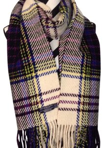 Burberry Burberry cashmere wool scarf purple, ivory, blue, yellow