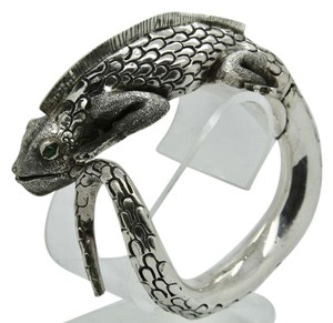 3D Iguana Lizard Bracelet in Sterling Silver with Malachite