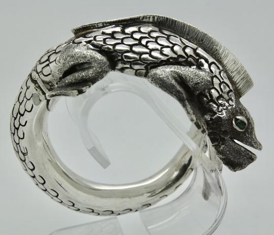 Other 3D Iguana Lizard Bracelet in Sterling Silver with Malachite Image 4