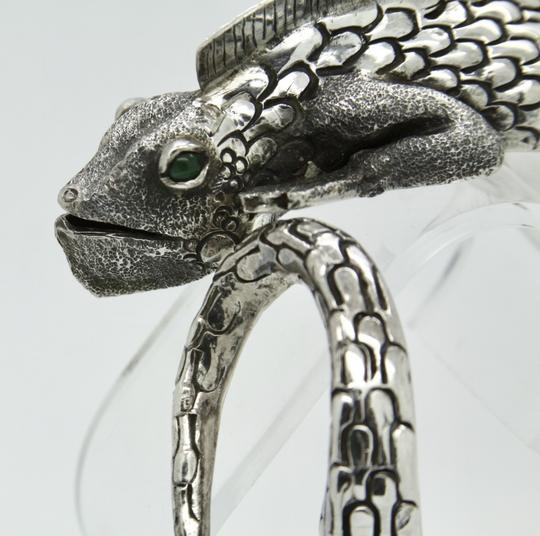 Other 3D Iguana Lizard Bracelet in Sterling Silver with Malachite Image 6