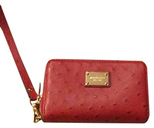 Michael Kors Wristlet in Red Ostrich Print