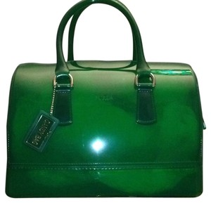 Furla Satchel in emerald green with gold trim