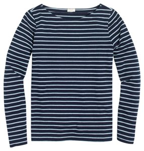 J.Crew Nautical Sporty French T Shirt Navy Blue / Heather Blue Stripe