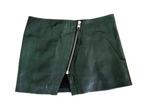 AllSaints Leather All Asymmetrical Darkgreen Mini Skirt Green Forest