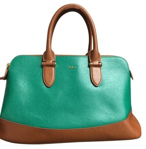 Ralph Lauren Top Handle Zipper Leather Green Satchel in Emerald