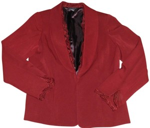 Dialogue Lace Trim Suit Jacket Burgundy, Red Blazer