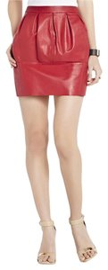 BCBGMAXAZRIA Leather Leather Mini Skirt Red