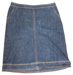 Boden Navy Pencil Straight Stretchy Skirt BLUE