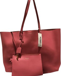Saint Laurent Leather Tote in Rose Clair